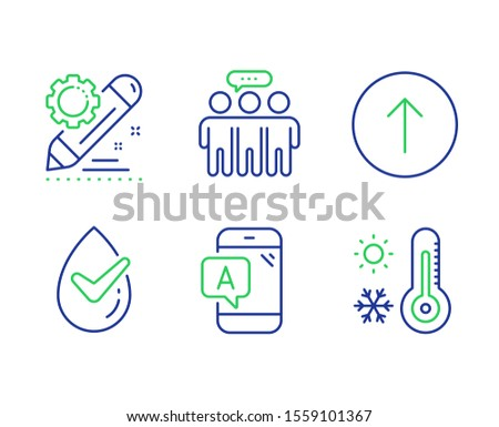 Swipe up, Dermatologically tested and Employees group line icons set. Ab testing, Project edit and Weather thermometer signs. Scroll screen, Organic, Collaboration. Phone test. Science set. Vector