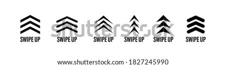 swipe up icon vector button. scroll arrow pointing up. drag to read learn more. isolated on white background. internet graphic concept. modern shape line. Foto stock ©