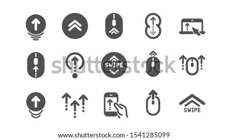 Swipe up icons. Scrolling mouse, landing page swipe signs. Scroll up mobile device technology icons. Website scroll navigation. Classic set. Quality set. Vector