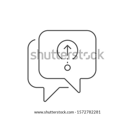 Swipe up line icon. Chat bubble design. Scrolling arrow sign. Landing page scroll symbol. Outline concept. Thin line swipe up icon. Vector