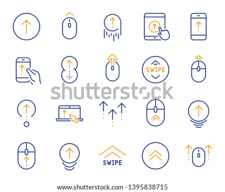 Swipe up line icons. Scrolling mouse, landing page swipe signs. Scroll up mobile device technology icons. Website scroll navigation. Tablet pc or smartphone symbols. Phone scrolling. Vector