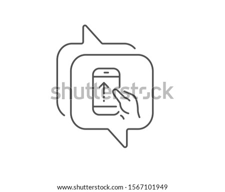Swipe up phone line icon. Chat bubble design. Scrolling arrow sign. Landing page scroll symbol. Outline concept. Thin line swipe up icon. Vector