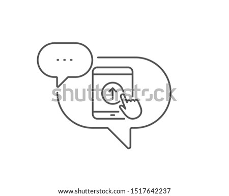 Swipe up tablet pc line icon. Chat bubble design. Scrolling arrow sign. Landing page scroll symbol. Outline concept. Thin line swipe up icon. Vector