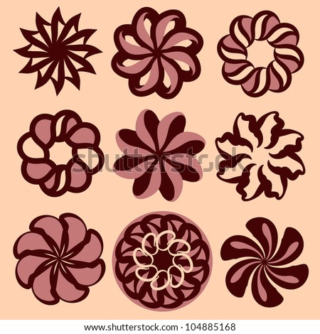 Swirl candy flowers icon vector set