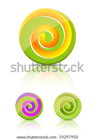 swirl candy.  lollipop set isolated on white background