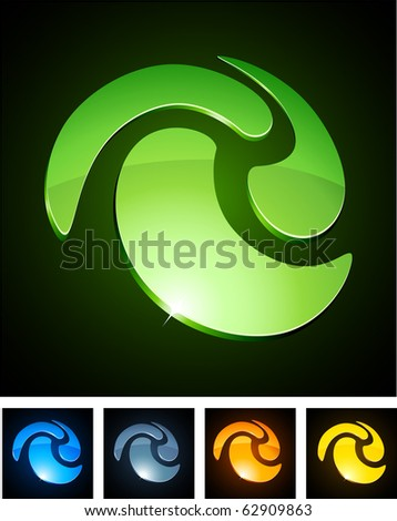 Swirl 3d vector icon such logos.
