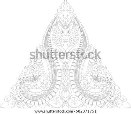 ec6a48f38 ... Swirl Doodle Giant Face with Tribal Twins Naga, Traditional Asia Dragon  Art Vector Format, ...