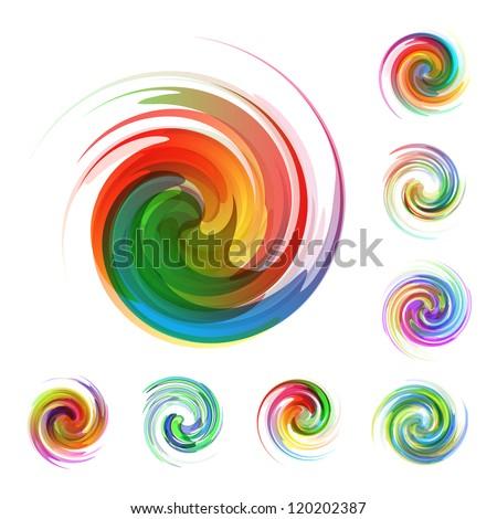 Swirl element set. Abstract illustration.