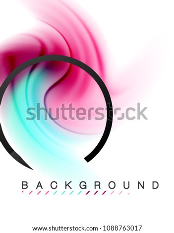 Swirl fluid flowing colors motion effect, holographic abstract background. Vector illustration #1088763017