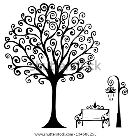 swirl hand drawn tree bench and lamp for your design eps8