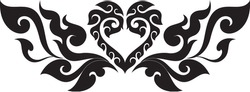 Swirl Tribal Doodle Heart with Wings Traditional Thai and Laos Artwork, Designed Concept for Artwork, Stencil, Tattoo, Logo, Symbol, Pattern, Texture Background, Woodworks, Ironworks, Vector Format