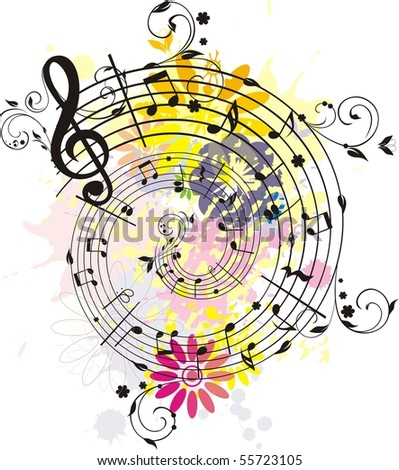 Swirling colored melody,each element has own layer