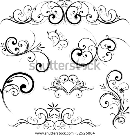 Stock Vector Swirling Flourishes Decorative Floral Elements on front letter