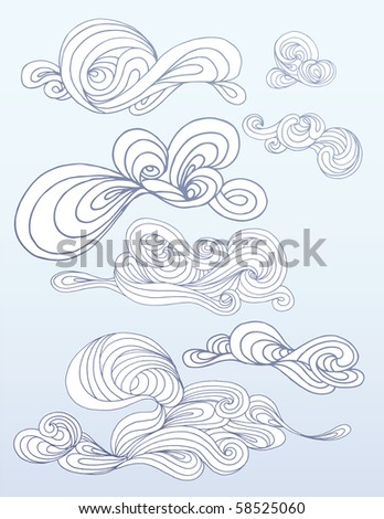 Swirling Hand Drawn Clouds
