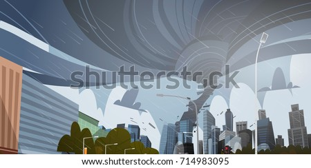 swirling tornado in city