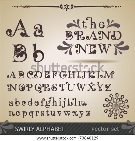Swirly Alphabet. - stock vector
