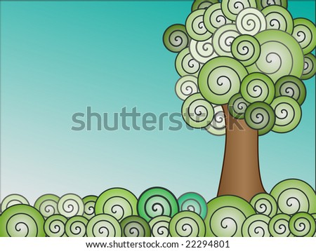 swirly gradient tree and