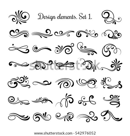 Swirly line curl patterns isolated on white background. Vector flourish vintage embellishments for greeting cards. Collection of filigree frame decoration illustration