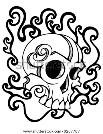 swirly skull vector. abstract
