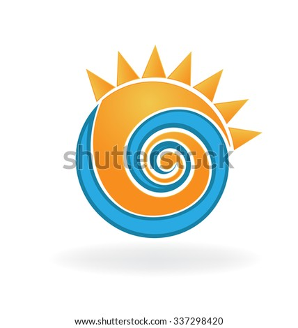 swirly wave and sun logo vector