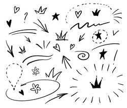 Swishes, swoops, emphasis doodles. Highlight text elements, calligraphy swirl, tail, flower, heart, graffiti crown.