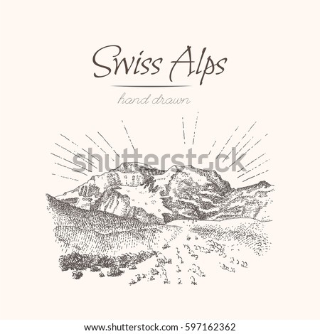 swiss alps. sketch of a...