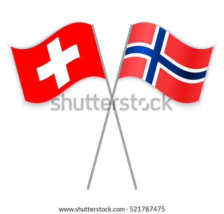 swiss and norwegian flags swiss