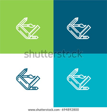 Swiss army knife green and blue material color minimal icon or logo design