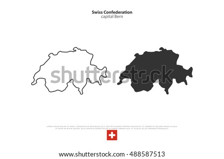 Swiss Confederation map and official flag over white background. vector Switzerland political map illustration. European State geographic banner template. travel sign business concept map. Switzerland
