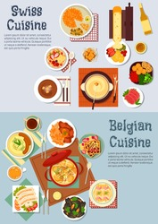 Swiss cuisine fondue and belgian waffles  with potato dishes and sausages, meat stews and melted cheese raclette, cured lamb, mussels, gratin of endives, fritter rosti, coffee, wine with fruity muesli