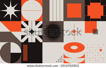 Swiss design style abstract poster layout with geometric graphics and bold elements. Modern geometry composition artwork with simple vector shapes. Useful for poster design, web presentation, etc.