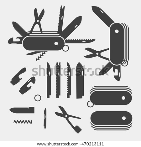 Swiss Folding knives to take apart flat icon vector; Multi-tool instrument