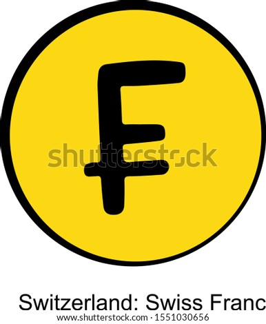 Swiss franc currency vector icon
