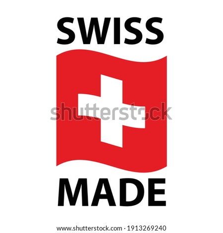 Swiss made logo - icon with wavy flag of Switzerland - Swiss made products package label