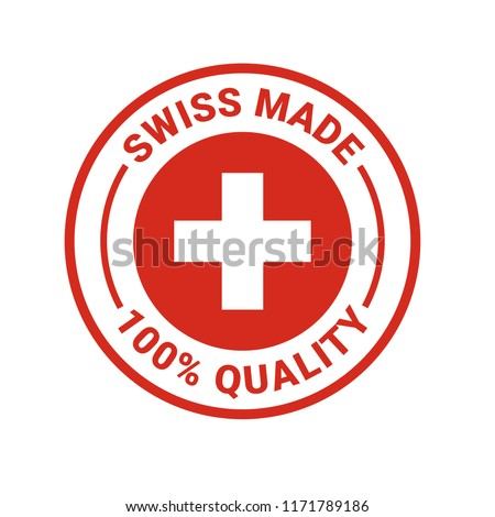 Swiss made seal logo. Vector 100 percent premium Switzerland quality badge icon with Swiss flag