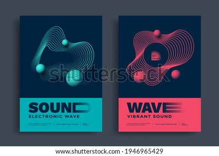 Swiss modern music festival poster with abstract wave lines. Electronic Sound cover in duotone color with wavy shape. Minimal a4 graphic template.