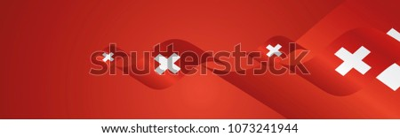 Swiss National Day waving flags two fold blue landscape background