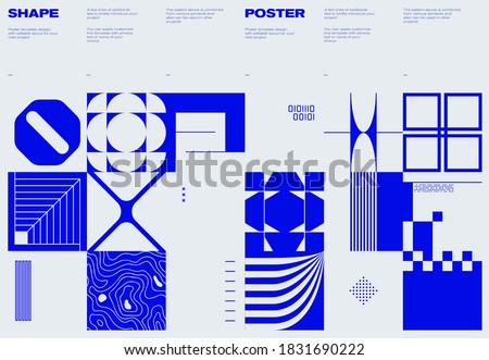 Swiss poster design template layout with clean typography and minimal vector pattern with colorful abstract geometric shapes. Great for branding, presentation, album print, website header, web banner.