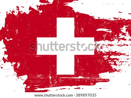 Swiss scratched Flag. A swiss flag with a grunge texture