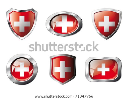 Swiss set shiny buttons and shields of flag with metal frame - vector illustration. Isolated abstract object against white background.