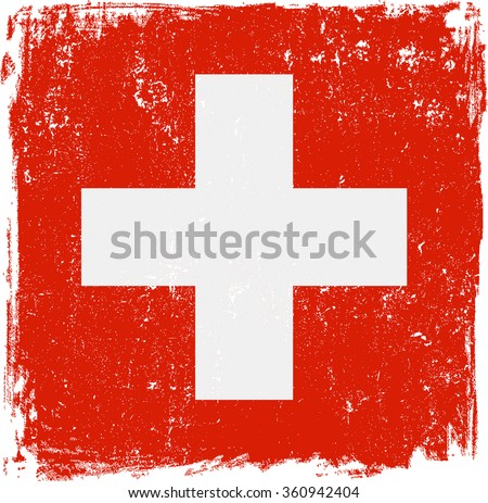 Swiss vector grunge flag. White cross on red background.