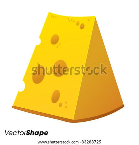 Swiss yellow cheese with holes, vector illustration