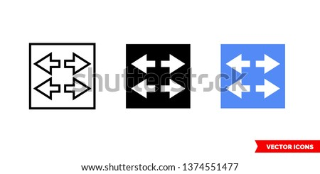 Switch icon of 3 types: color, black and white, outline. Isolated vector sign symbol.