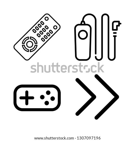 switch icons set with remote release cable, buttons and double right arrows angles vector set