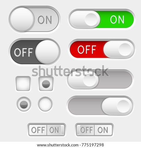 Switch slider buttons. Radio buttons. Vector 3d illustration