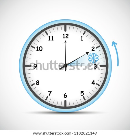switch to winter time blue clock vector illustration EPS10