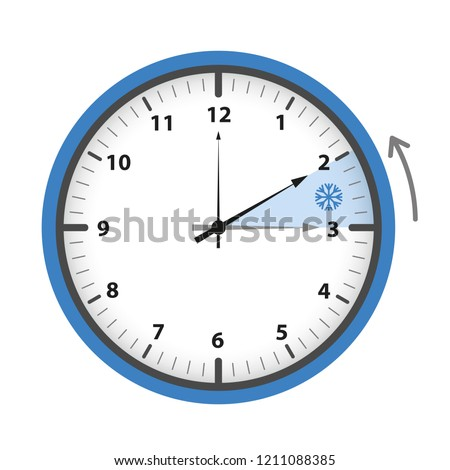 switch to winter time concept blue clock vector illustration EPS10