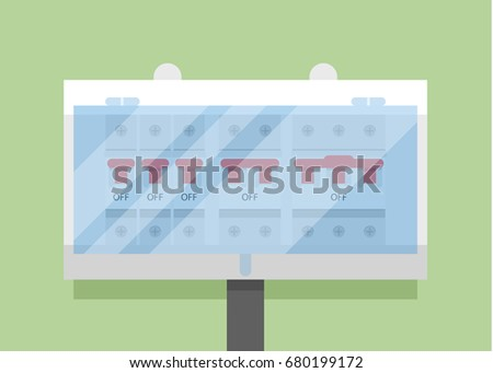 Switchboard Electric panel with swit?hes and fuse breakers flat vector illustration isolated on green background