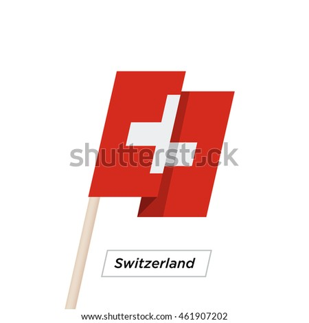 Switzeland Ribbon Waving Flag Isolated on White. Vector Illustration. Switzeland Flag with Sharp Corners