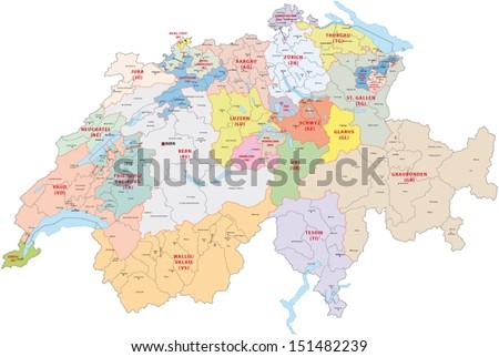 switzerland administrative map